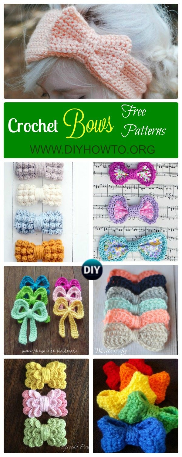 Collection of different ways to Crochet Bow Free Pattern: bobble stitch bow, crocodile stitch bow, easy bow handband and more