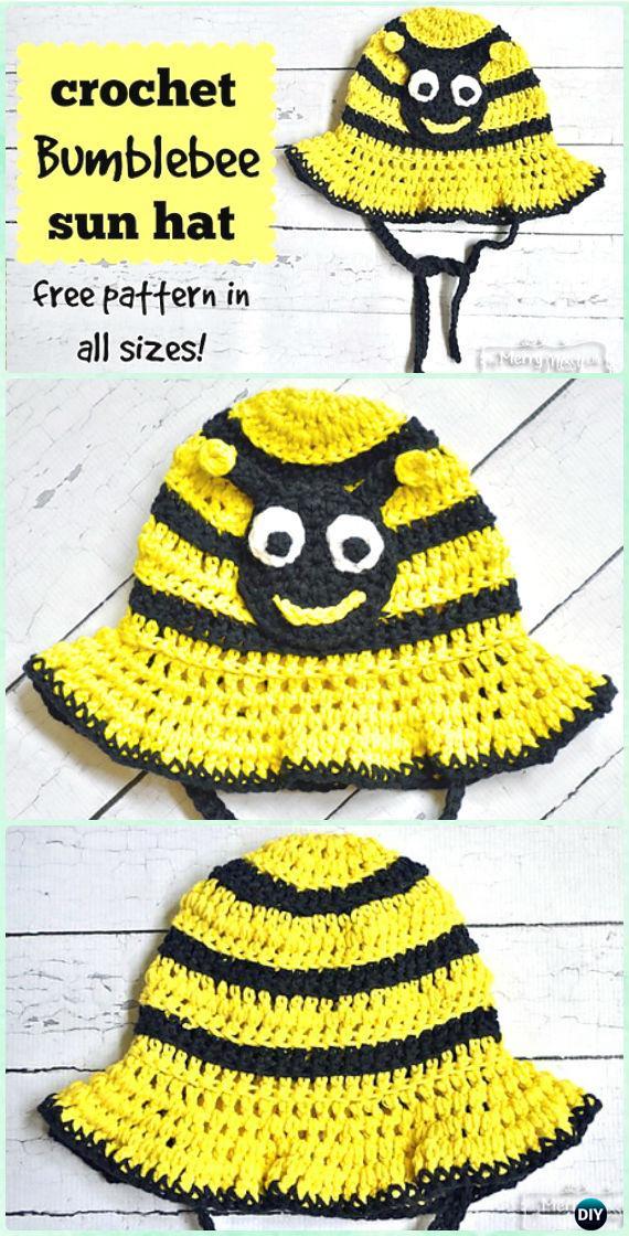 Crochet Bumblebee Sun Hat Free Pattern - Crochet Boys Sun Hat Free Patterns