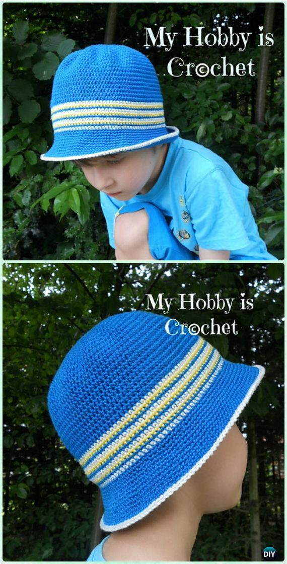 Crochet Cotton Sun Hat Free Pattern - Crochet Boys Sun Hat Free Patterns