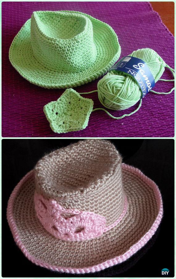 Crochet Kid's Cowboy Sun Hat Free Pattern - Crochet Boys Sun Hat Free Patterns