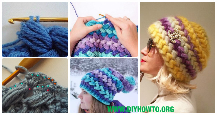 Crochet Braid Puff Stitch Slouch Hat Free Pattern Video Instruction