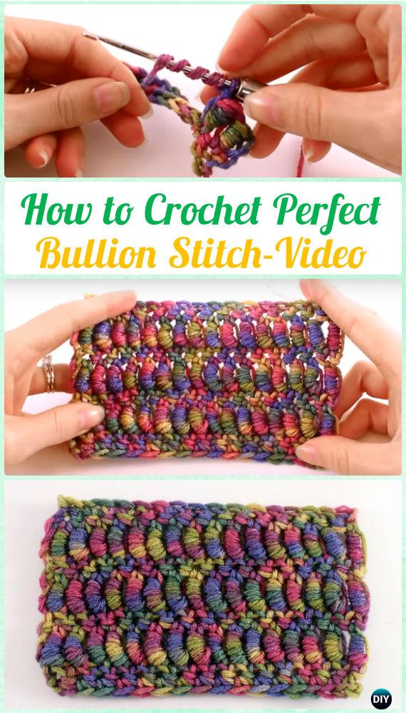 How to Crochet Perfect Bullion Stitch Instruction [Video] - Crochet Bullion Stitch Free Patterns