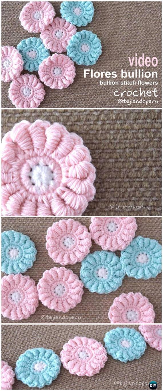 How to Crochet Bullion Stitch Flower Free Pattern Video Instruction - Crochet Bullion Stitch Free Patterns