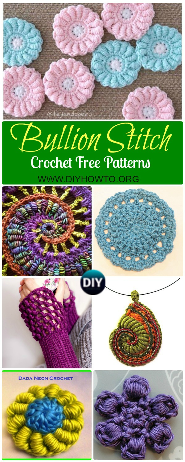 Collection of Crochet Bullion Stitch Free Patterns: Crochet Bullion Stitch Flowers, Square, Coasters, Blankets, fingerless gloves and video instruction