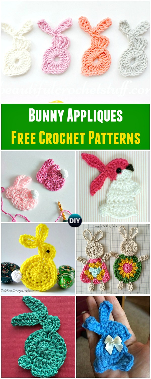 Collection of Crochet Bunny Applique Free Patterns: Easy and Quick Easter Bunny / Rabbit Applique and Motifs crochet pattern most free for Easter crochet decoration
