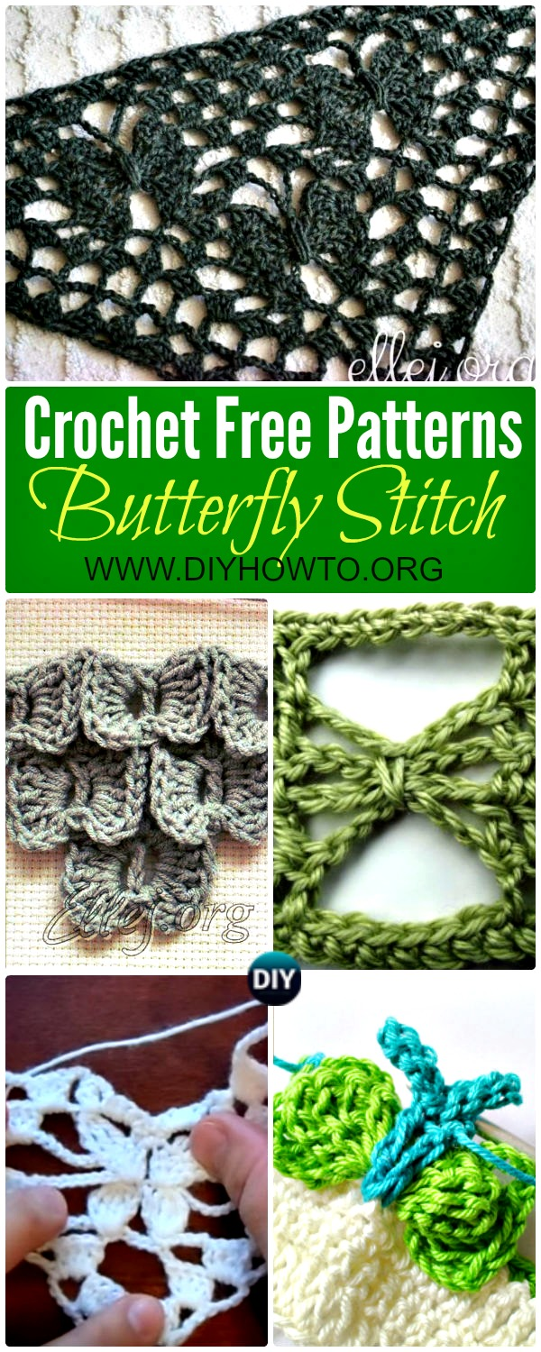 Collection of Crochet Butterfly Stitch Free Patterns: Crochet Bow Butterfly stitch, Crochet Moon Butterfly stitch; Crochet Night Butterfly stitch