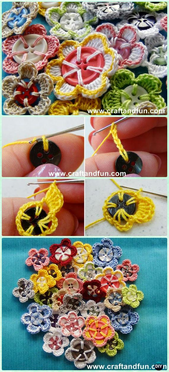 Crochet Button Flower Free Pattern [Video]
