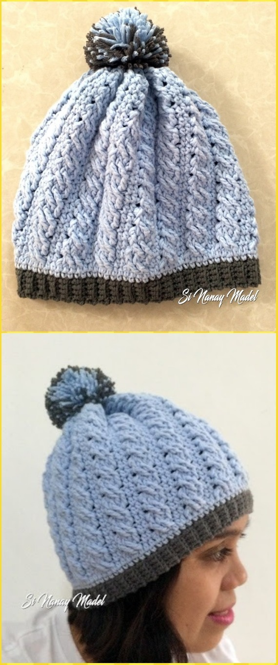 Crochet Cable Braid Stitch Hat Free Pattern - Crochet Cable Hat Free Patterns