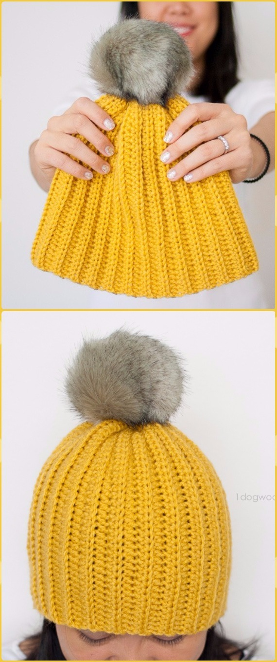 Crochet Easy Ribbed Pom Beanie Hat Free Pattern - Crochet Cable Hat Free Patterns