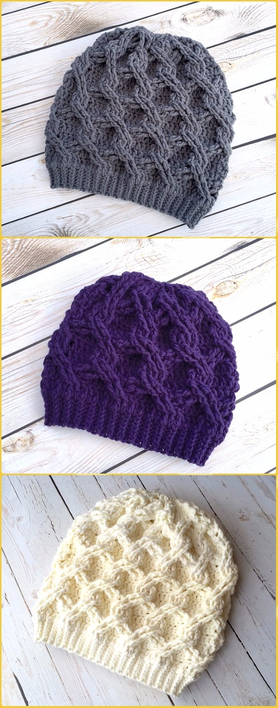 Crochet Chain Link Slouch Hat Paid Pattern - Crochet Cable Hat Patterns 14ea6f6024c