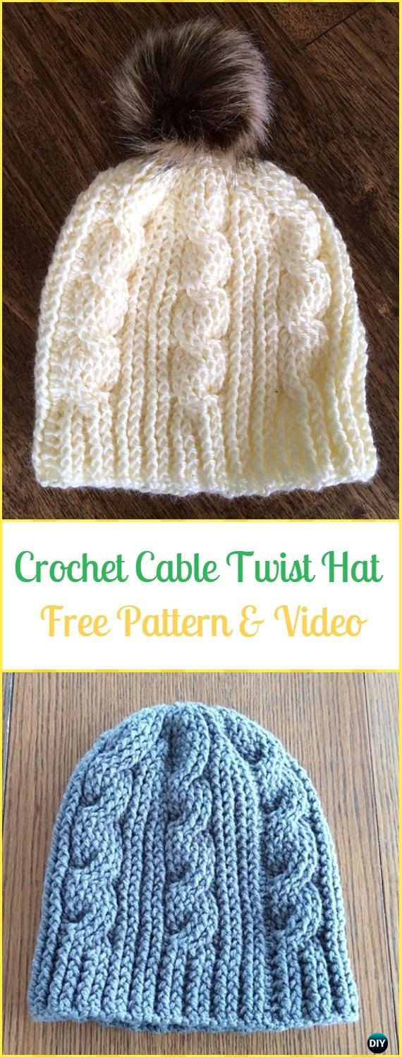 Crochet Cable Twist Hat Free Pattern & Video - Crochet Cable Hat Free Patterns