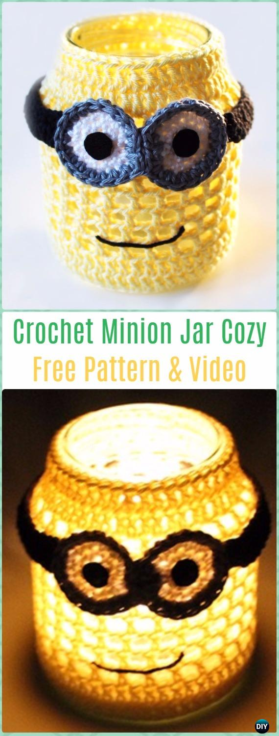 Crochet Minion Jar Cozy Light Candle Free Pattern - Crochet Candle Jar Cozy Free Patterns