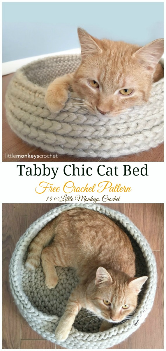 Tabby Chic Cat Bed Crochet Free Pattern - #Crochet; #Cat; Pet House Free Patterns