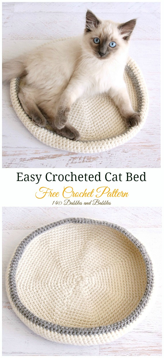 Easy Crocheted Cat Bed Free Pattern - #Crochet; #Cat; Pet House Free Patterns