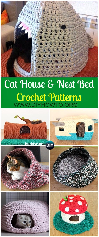 Crochet Cat House Nest Bed Patterns Instructions