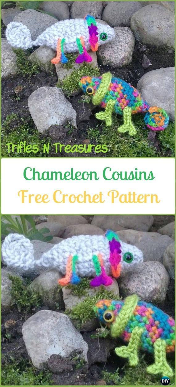 Crochet Amigurumi Camille & Leon Chameleon Cousins Free Pattern - Crochet Chameleon Amigurumi Softies Toy Patterns