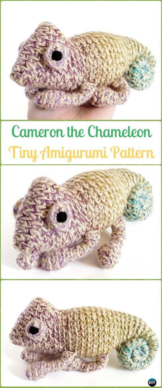 Amigurumi Crochet Tiny Cameron the Chameleon Paid Pattern - Crochet Chameleon Amigurumi Softies Toy Patterns
