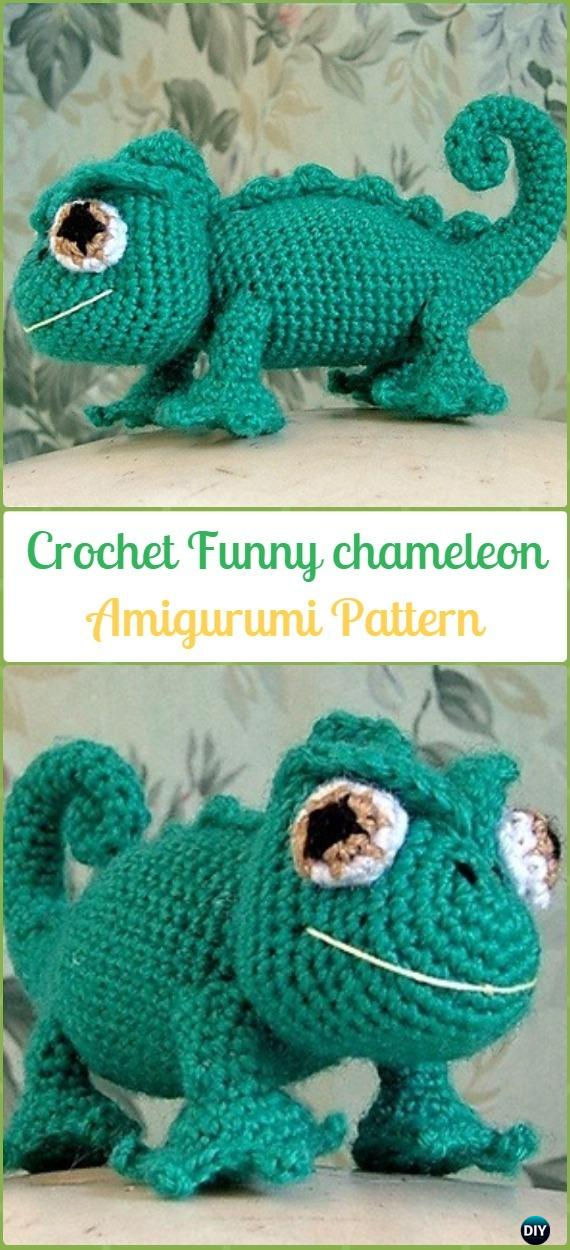 Amigurumi Crochet Funny chameleon Free Pattern - Crochet Chameleon Amigurumi Softies Toy Patterns