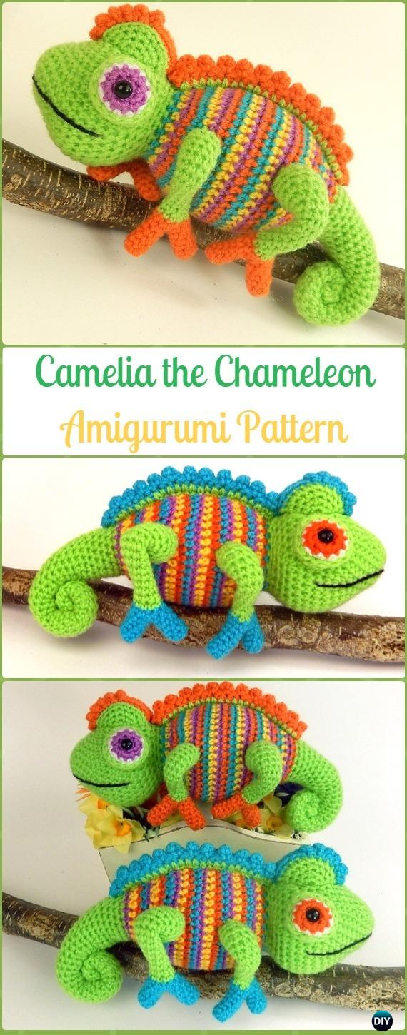Amigurumi Crochet Camelia the Chameleon Paid Pattern - Crochet Chameleon Amigurumi Softies Toy Patterns