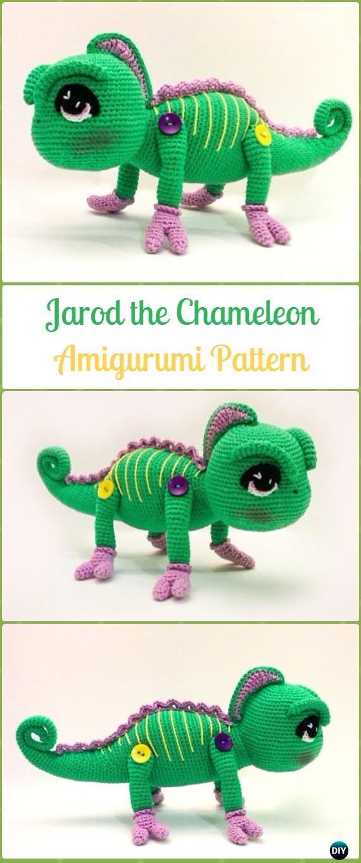 Amigurumi Crochet Jarod the Chameleon Paid Pattern - Crochet Chameleon Amigurumi Softies Toy Patterns