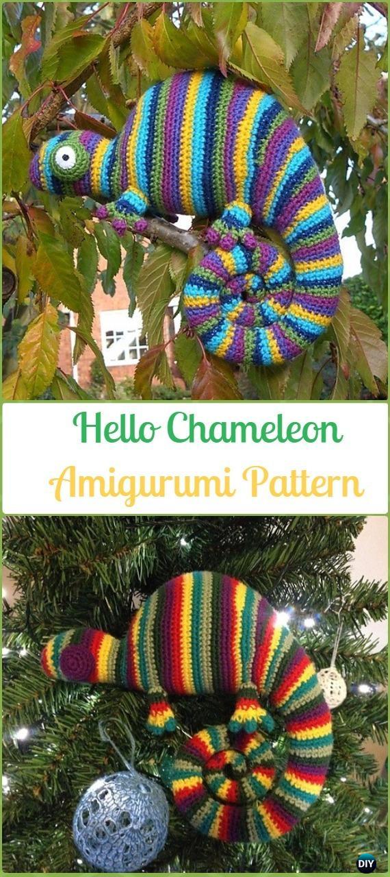 Amigurumi Crochet Hello Chameleon Paid Pattern - Crochet Chameleon Amigurumi Softies Toy Patterns