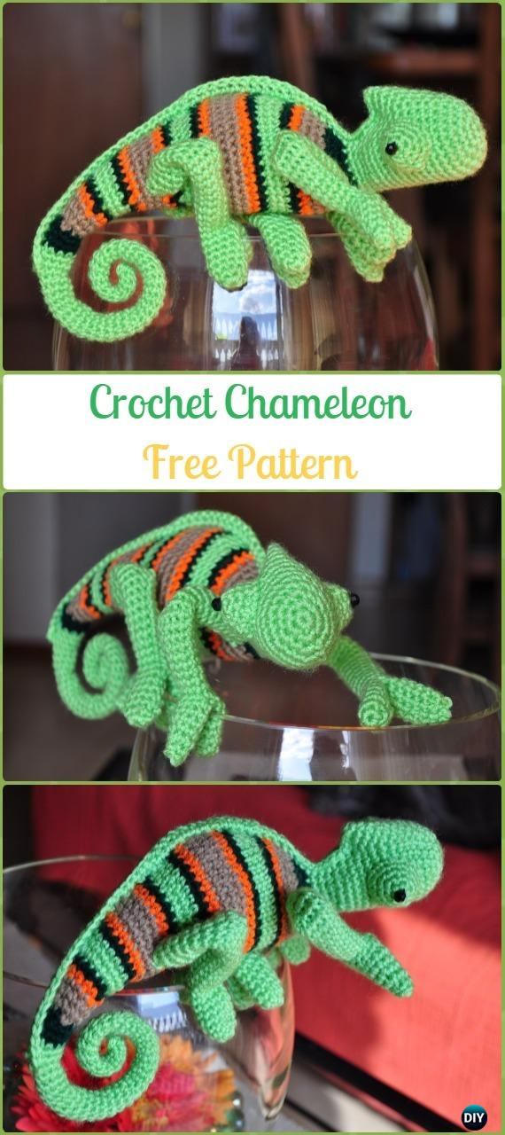 Amigurumi Crochet Chameleon Free Pattern - Crochet Chameleon Amigurumi Softies Toy Patterns