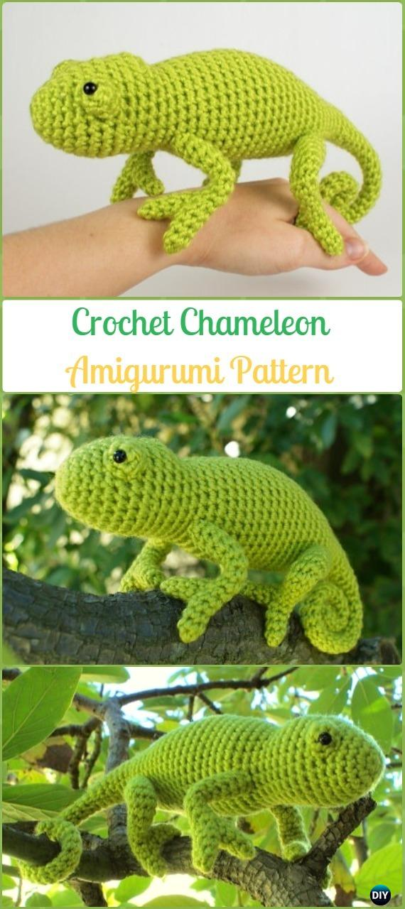 Crochet Amigurumi Chameleon Pattern - Crochet Chameleon Amigurumi Softies Toy Patterns