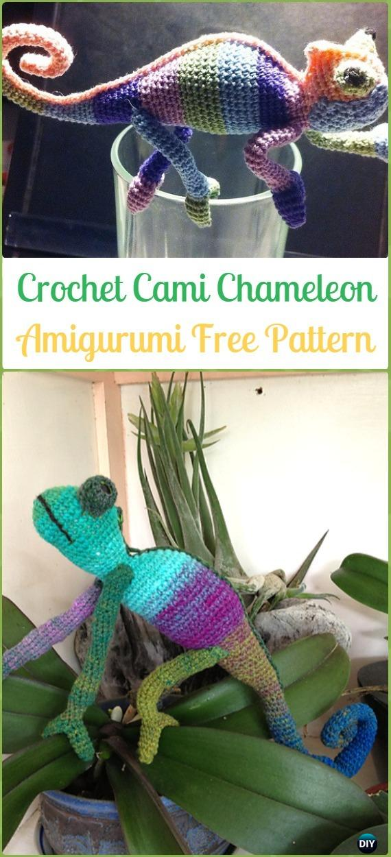 Amigurumi Crochet Cami Chameleon Free Pattern - Crochet Chameleon Amigurumi Softies Toy Patterns