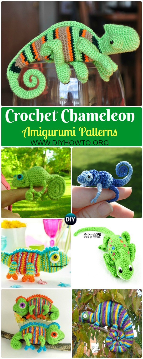 Crochet Chameleon Amigurumi Softies Toy Patterns