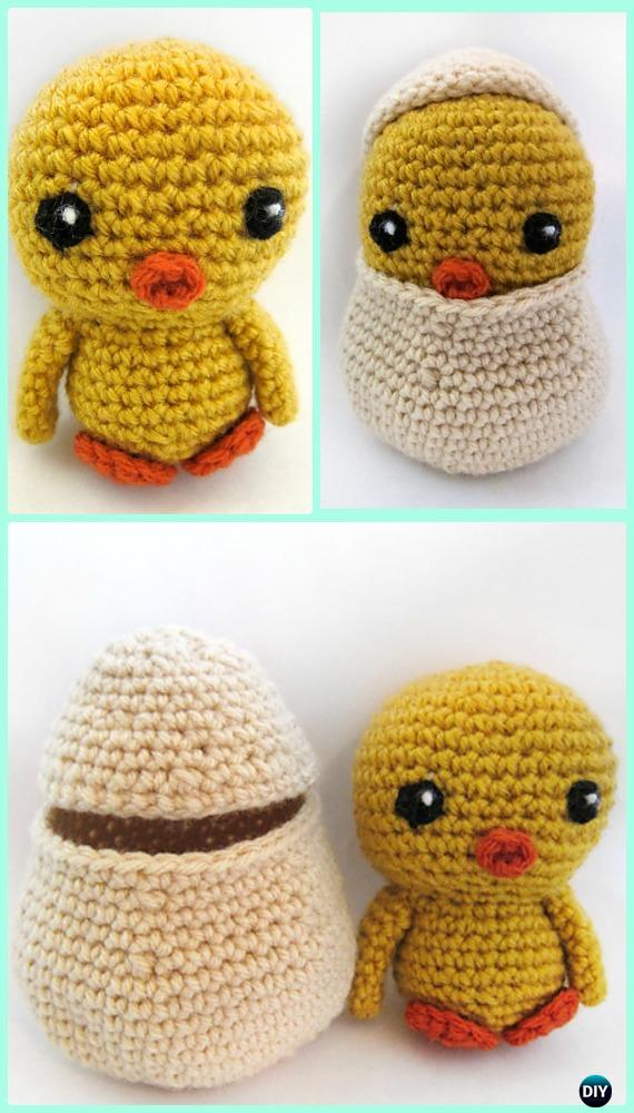 Crochet Amigurumi Spring Chicken with Egg Free Pattern - Crochet Chicken Free Patterns