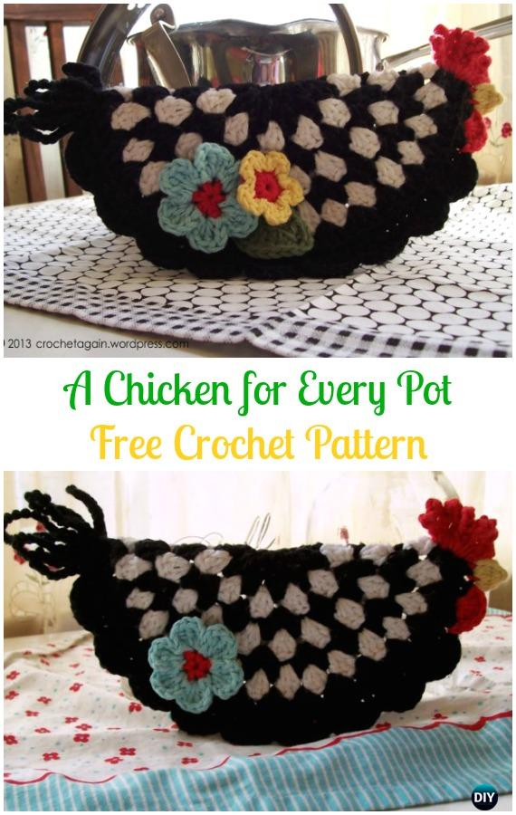 Crochet A Chicken for Every Pot Potholder Free Pattern -Easter Crochet Chicken Potholder Free Patterns