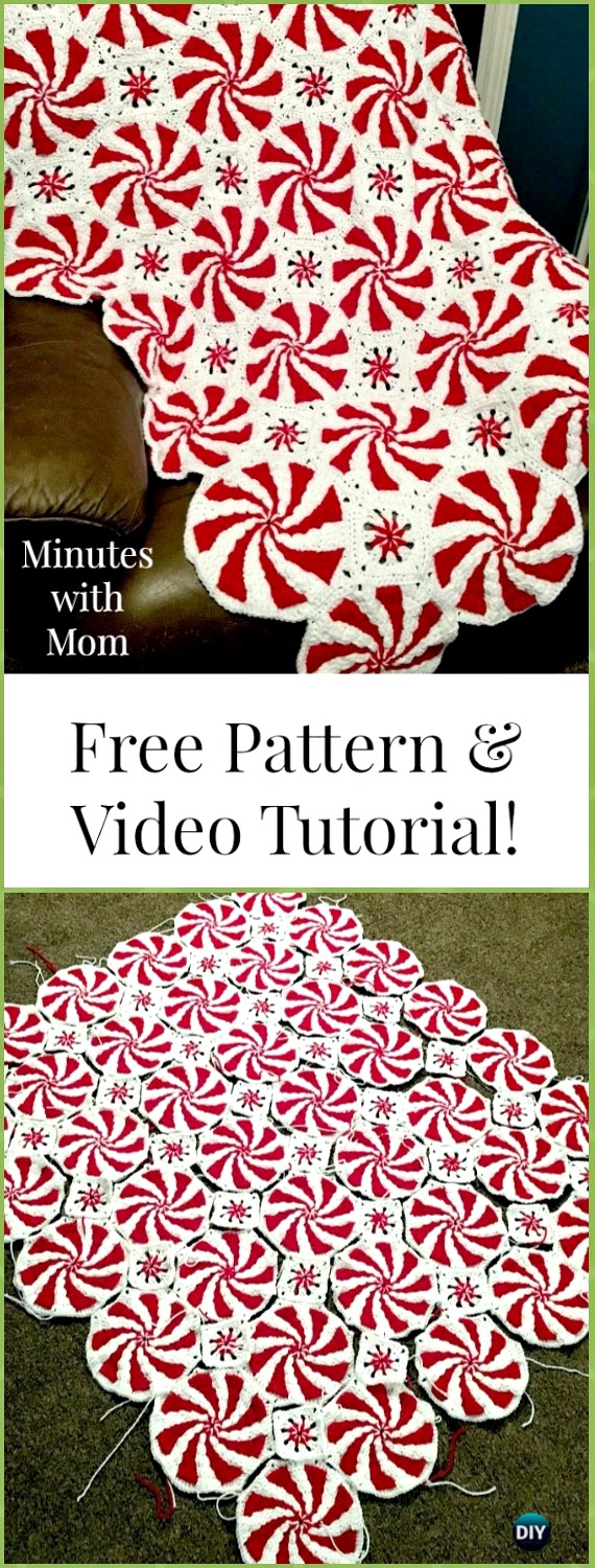 Crochet Peppermint Swirl Blanket Free Pattern & Video - Crochet Christmas Blanket Free Patterns