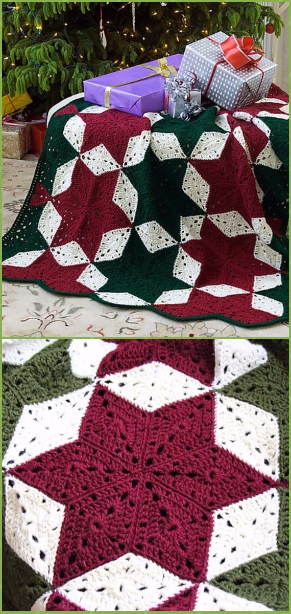 Crochet Christmas Star Throw Blanket Free Pattern - Crochet Christmas Blanket Free Patterns