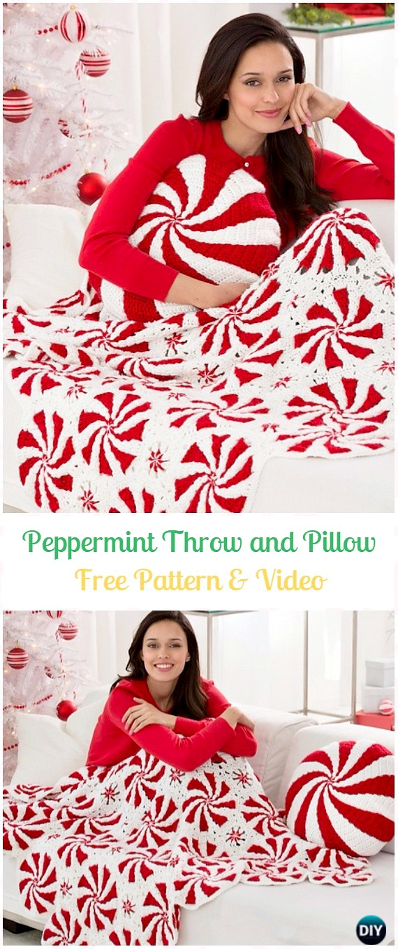 Crochet Peppermint Throw and Pillow Free Pattern & Video - Crochet Christmas Blanket Free Patterns