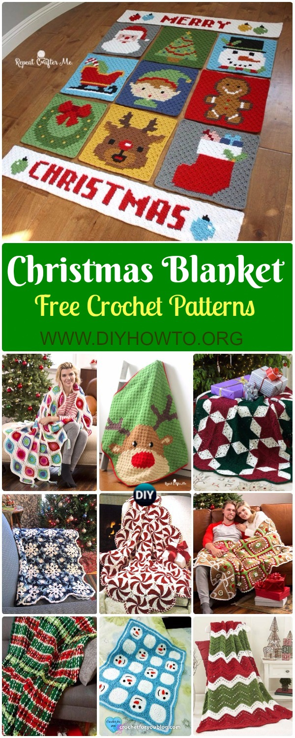 Crochet Christmas Blanket Free Patterns & Tutorials: Crochet Holiday Blanket, Retro Ornament, Pepper Mint, Reindeer, Star, Ripple Blanket