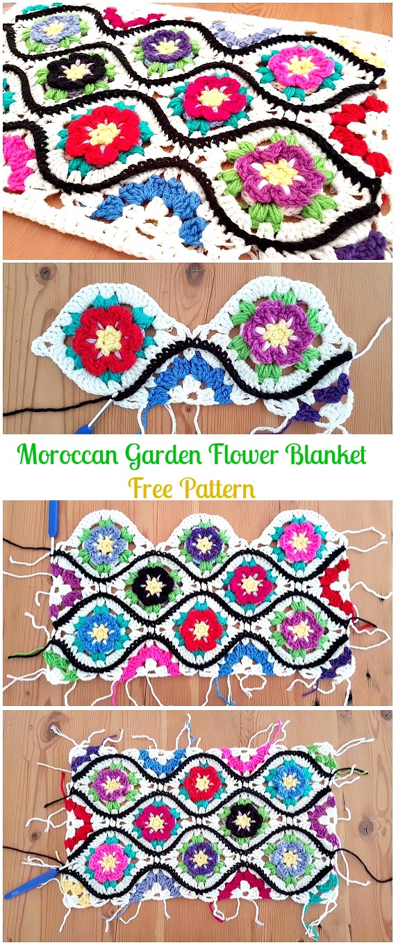 Crochet Moroccan Garden Flower Blanket Free Pattern - Crochet Christmas Blanket Free Patterns