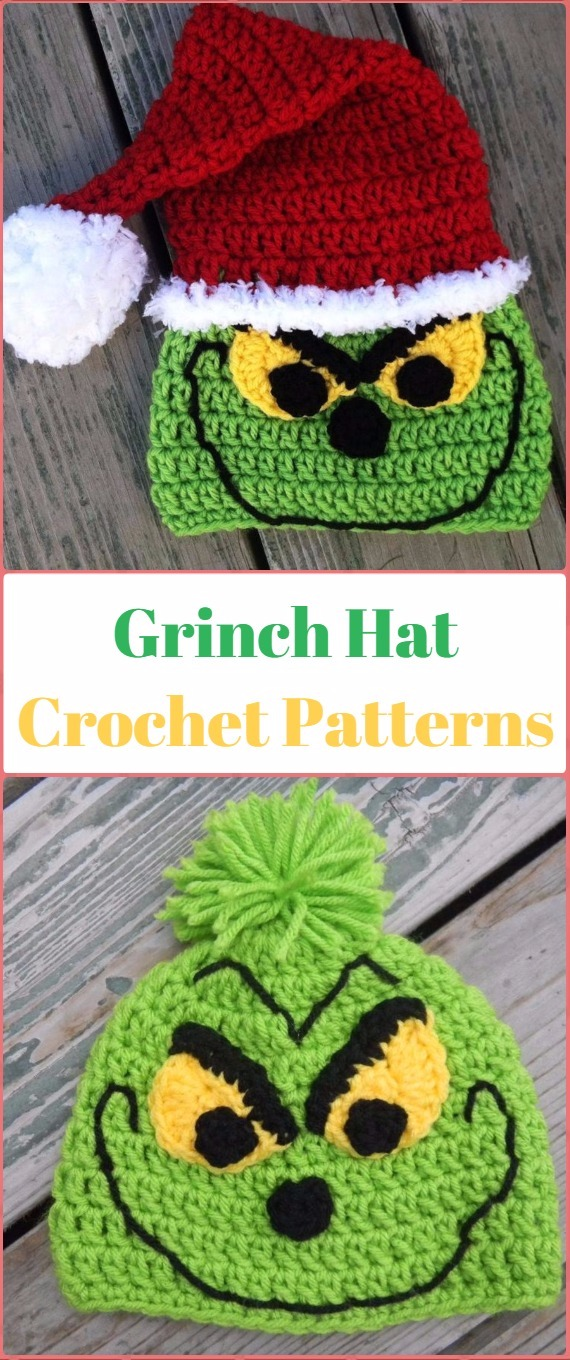Crochet Christmas Santa Grinch Hat Paid Pattern - Crochet Christmas Hat Gifts Patterns