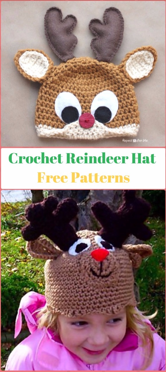 Crochet Rudolph the Reindeer Hat Free Pattern - Crochet Christmas Hat Gifts Free Patterns