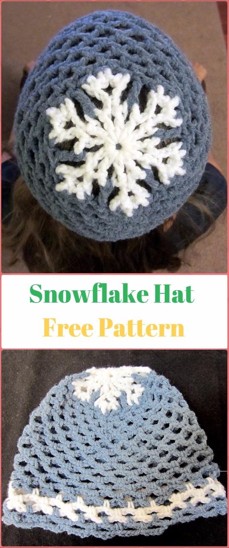 Crochet Let it Snow Snowflake Hat Free Pattern - Crochet Christmas Hat Gifts Free Patterns