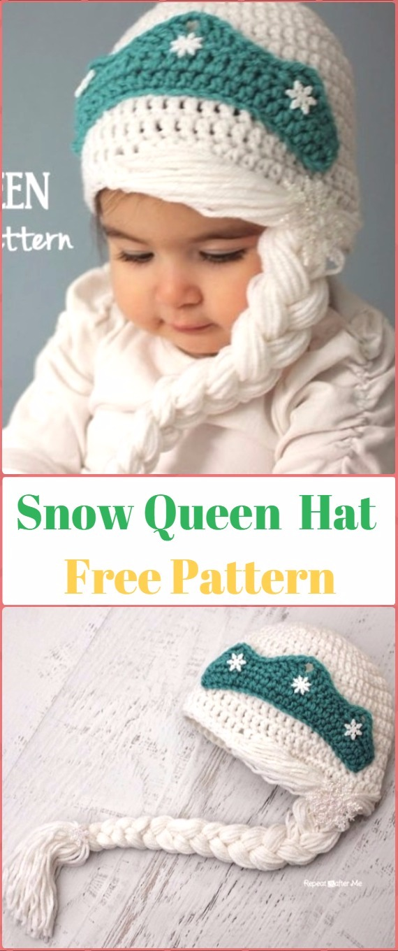 Crochet Snow Queen Hat Free Pattern - Crochet Christmas Hat Gifts Free Patterns