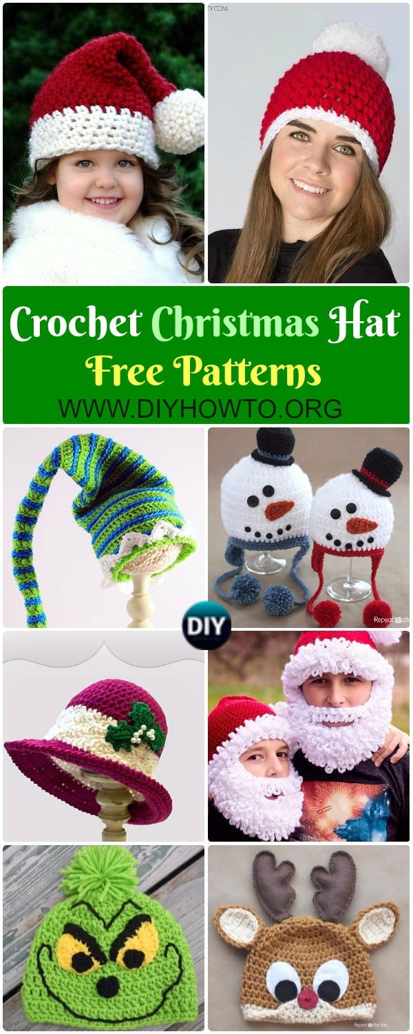 Collection of Crochet Christmas Hat Gifts Free Patterns: Crochet Christmas Tree, Elf hat, santa hat, elf hat, Snowman hat holiday gift