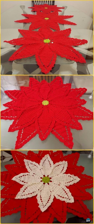 Crochet Poinsettia Flower Table Runner Free Pattern Crochet