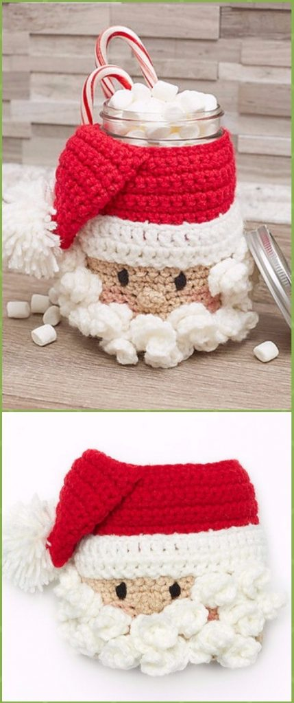 Crochet Santa Candy Jar Free Pattern - Crochet Christmas Mason Jar Cozy Free Patterns