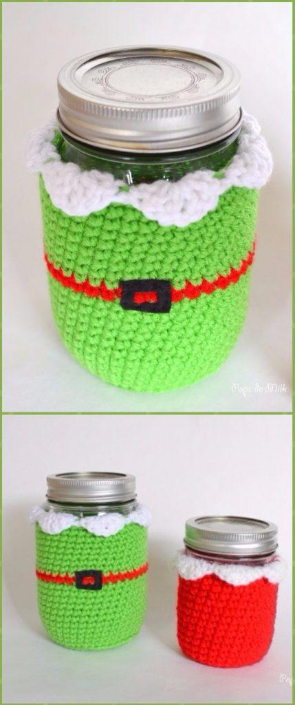 Crochet Christmas ElfMason Jar Cozy Free Pattern - Crochet Christmas Mason Jar Cozy Free Patterns