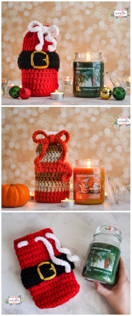 Crochet Holiday Candle Cozies Free Pattern - Crochet Christmas Mason Jar Cozy Free Patterns