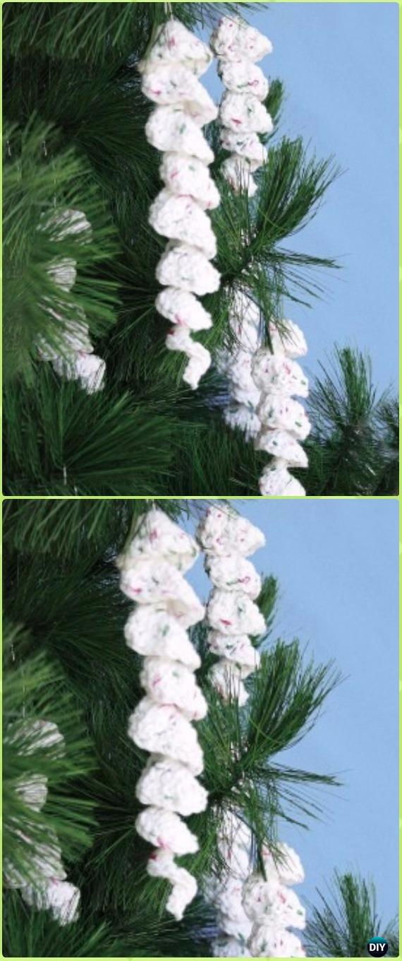 Icicle Ornaments Crochet Free Pattern - DIY #Crochet; #Christmas; #Ornament; Free Patterns