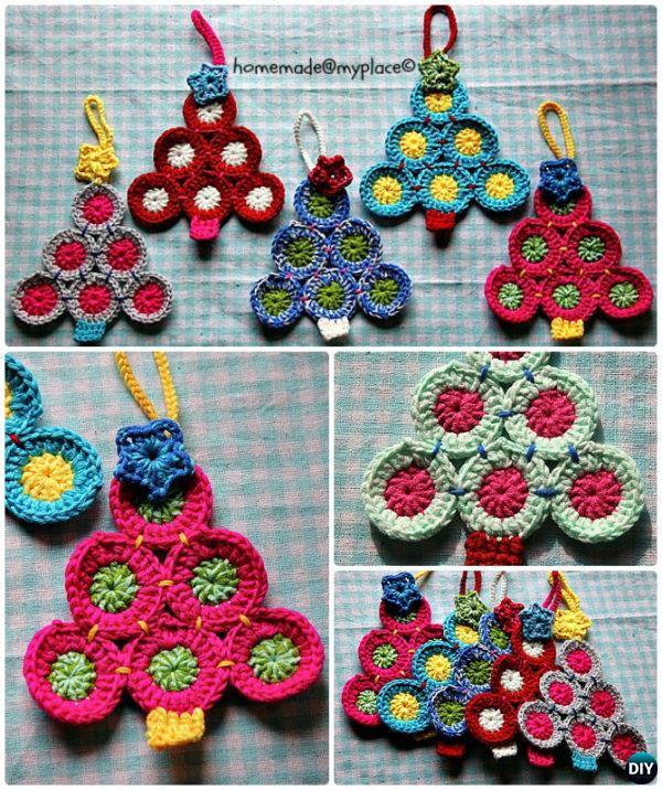 Crochet Circle Applique Christmas Tree Free Pattern Instruction - Crochet Christmas Tree Free Patterns