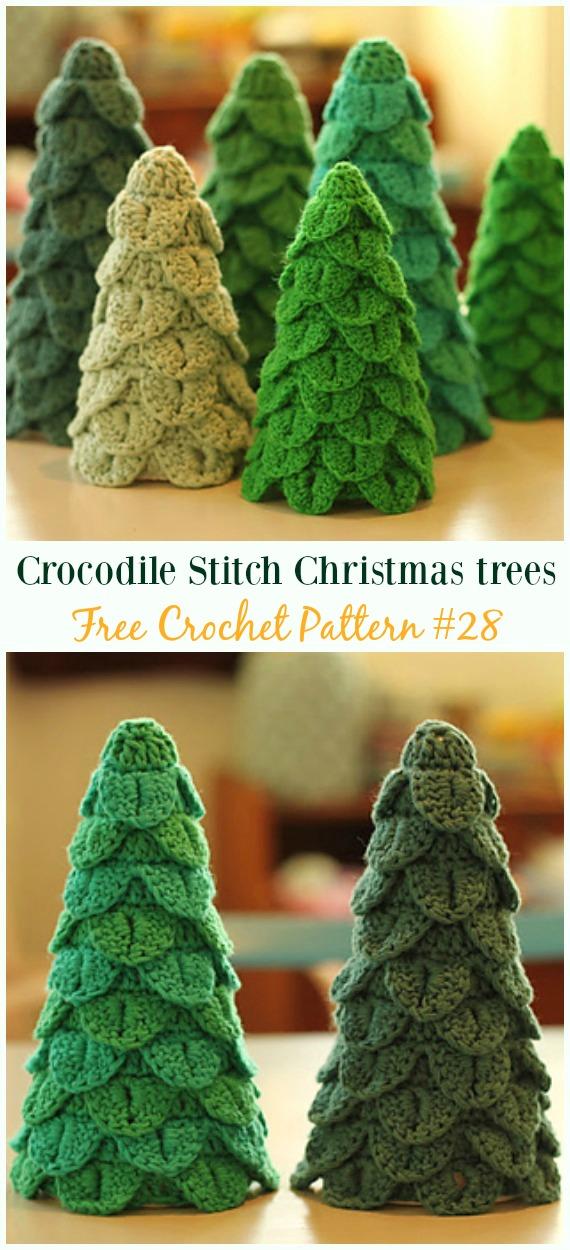Crocodile stitchChristmas trees Crochet Free Pattern - #Crochet; #Christmas Tree Free Patterns