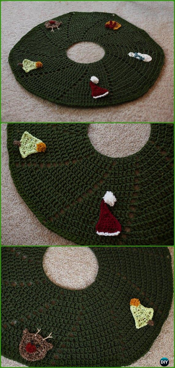 Crochet 3D Spiral Tree Skirt Free Pattern - Crochet Christmas Tree Skirt Free Patterns