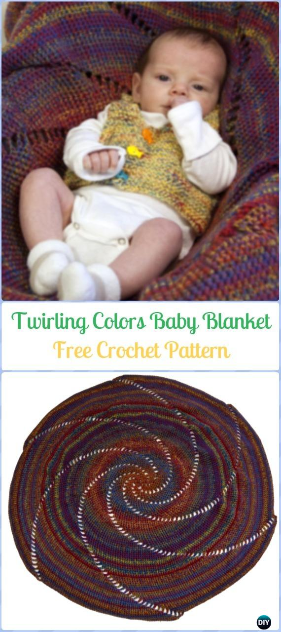 Crochet Round Twirling Colors Baby Blanket Free Pattern-Crochet Circle Blanket Free Patterns